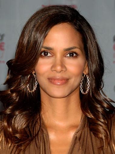 "Lace Front 16"" Without Bangs Soft Halle Berry Wigs"
