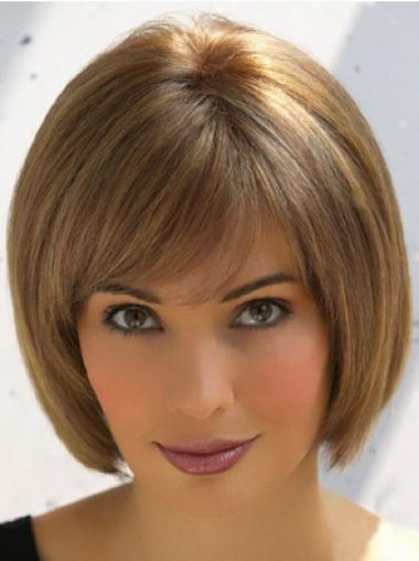 Brown Straight Durable Remy Human Hair Wigs