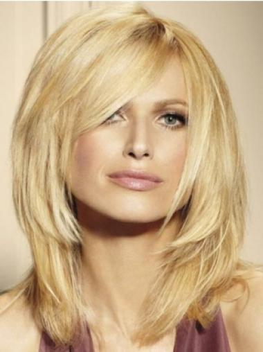Blonde Lace Front Straight Medium Human Hair Wigs