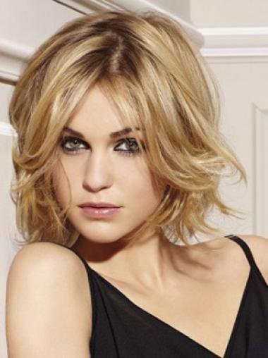 Flexibility Blonde Lace Front Wavy Short Human Hair Wigs