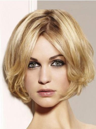"""Popular Blonde Lace Front Wavy 10"""" Human Hair Wigs"""