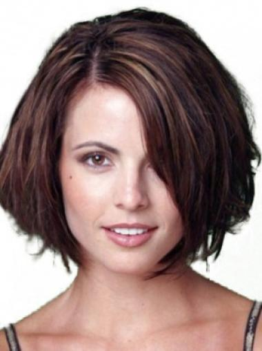 Auburn Lace Front Straight Short Human Hair Wigs