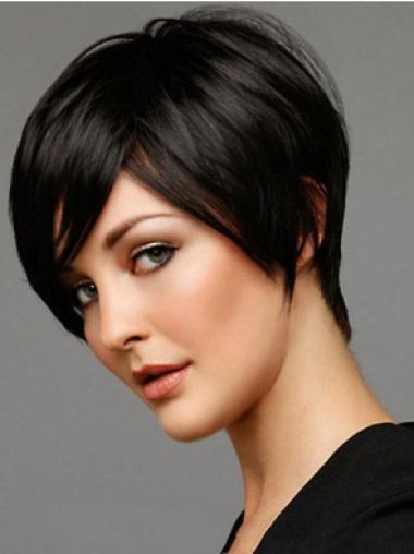 Straight Remy Human Hair Short Capless Black Top Wigs
