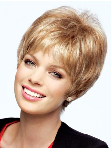 Blonde Short Straight Boycuts Human Hair Wigs