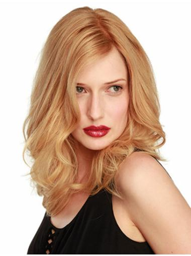 Wavy Shoulder Length Blonde Without Bangs Fishnet Remy Human Hair Wigs