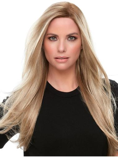 """Blonde 18"""" Straight Synthetic Without Bangs Womens Long Wigs"""