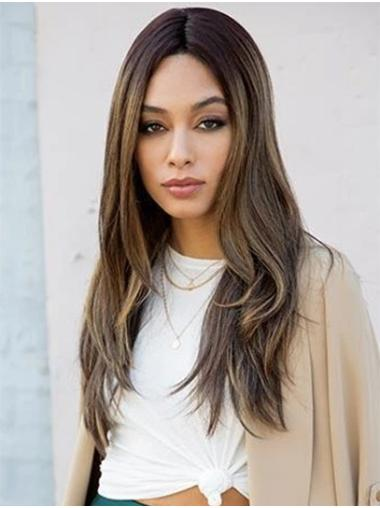 "Straight 18"" Ombre/2 tone Without Bangs Long Good Lace Wigs"