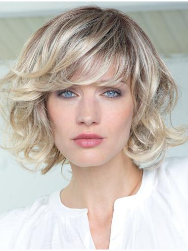 Blonde Curly Shoulder Length Human Hair Wigs