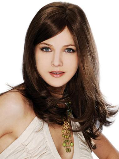 Brown Straight Fashionable Remy Human Hair Wigs