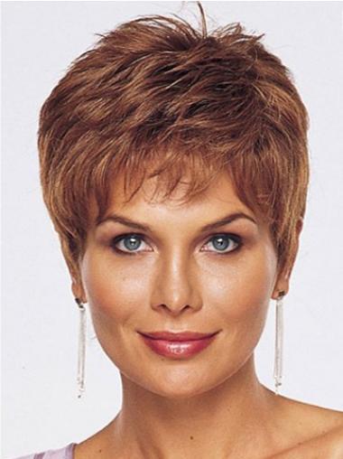 Auburn Straight Fashionableable Remy Human Hair Wigs
