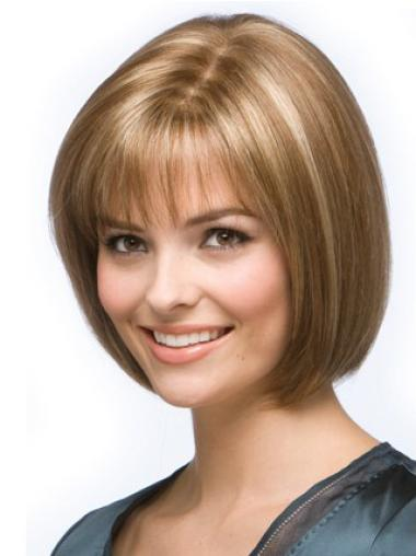 Brown Straight Soft Remy Human Hair Wigs
