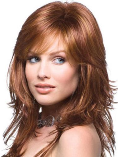 Auburn Wavy Convenient Remy Human Hair Wigs