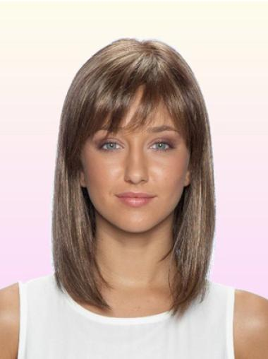 Brown Straight Sassy Remy Human Hair Wigs