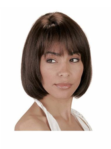 Brown Straight Stylish Remy Human Hair Wigs