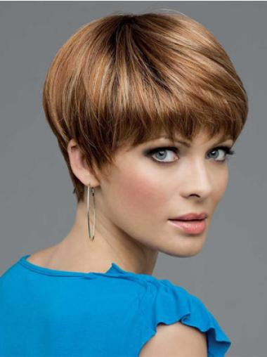 Brown Straight Top Remy Human Hair Wigs