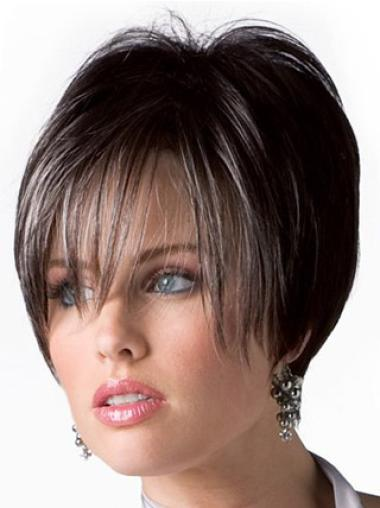 Brown Straight Fashionableable Remy Human Hair Wigs