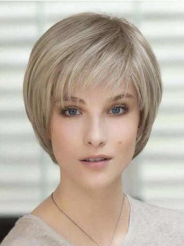 Comfortable Blonde Human Hair Cancer Wigs