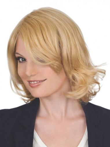 "Trendy Blonde Lace Front Curly 12"" Human Hair Wigs"
