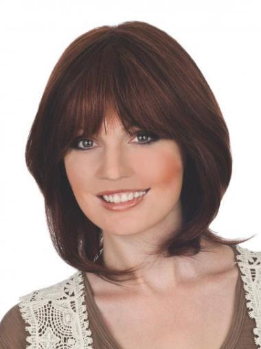 Auburn Lace Front Straight Medium Human Hair Wigs