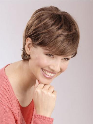 Beautiful Auburn Lace Front Straight Short Human Hair Wigs