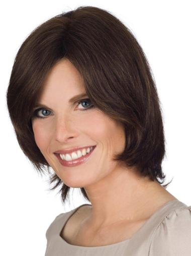 """Incredible Brown Lace Front Straight 12"""" Human Hair Wigs"""