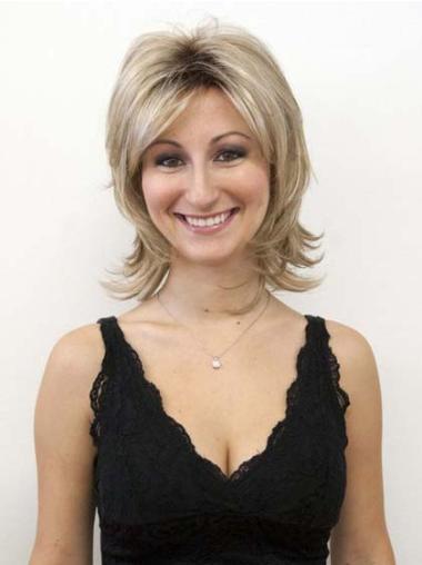 Sassy Blonde Capless Straight Medium Human Hair Wigs
