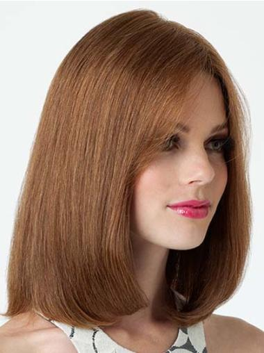Brown Lace Front Straight Medium Human Hair Wigs