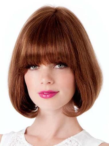 Top Auburn Lace Front Straight Medium Human Hair Wigs