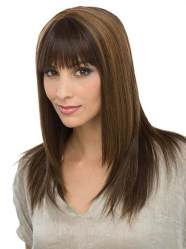 Hairstyles Brown Capless Straight Long Human Hair Wigs