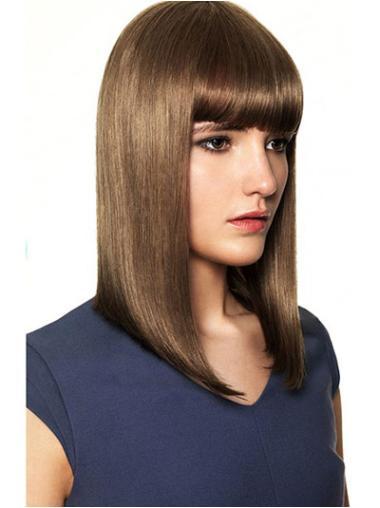 """Flexibility Brown Capless Straight 14"""" Human Hair Wigs"""
