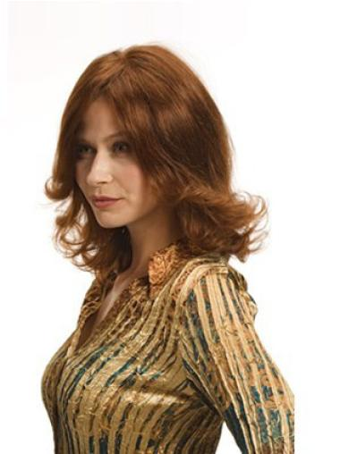 Fashionable Auburn Full Lace Wavy Medium Human Hair Wigs
