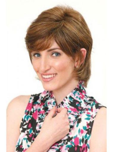 Top Brown Capless Straight Short Human Hair Wigs