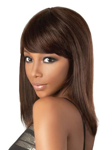 Brown Lace Front Straight Long Human Hair Wigs