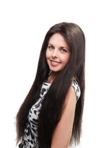 "Durable Auburn Full Lace Straight 26"" Human Hair Wigs"