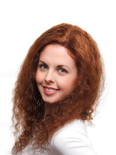 "Soft Auburn Full Lace Curly 24"" Human Hair Wigs"