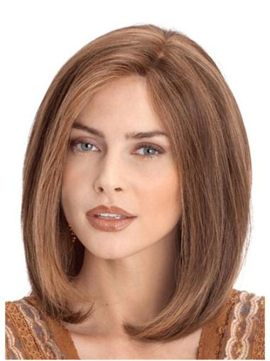 New Auburn Lace Front Wavy Medium Human Hair Wigs