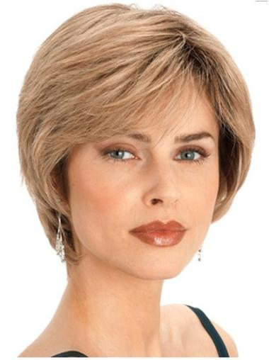 Stylish Blonde Capless Straight Short Human Hair Wigs