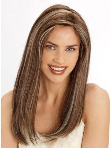 "Top Brown Lace Front Straight 22"" Human Hair Wigs"