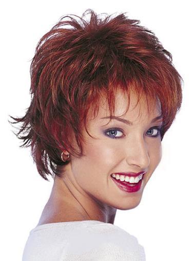 "Online Red Capless Wavy 10"" Human Hair Wigs"