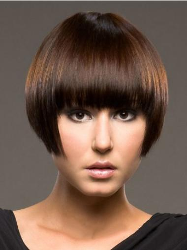 Auburn Capless Straight Short Human Hair Wigs