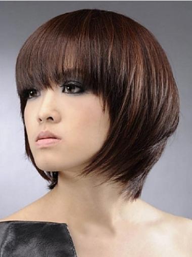 2014 Auburn Capless Straight Medium Human Hair Wigs