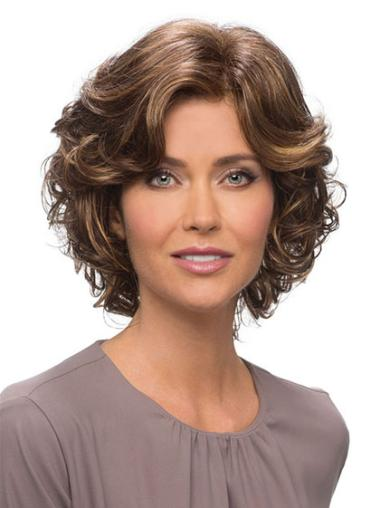 Brown Lace Front Wavy Medium Human Hair Wigs