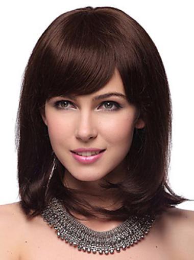 Auburn Capless Straight Medium Human Hair Wigs