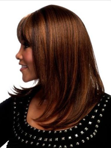 "Capless Remy Human Hair Soft 18"" Straight Wigs"