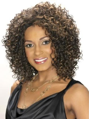 Lace Front Synthetic Designed Medium Curly Wigs