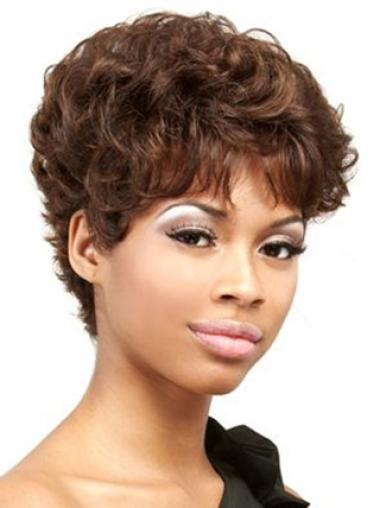 Capless Remy Human Hair Comfortable Short Curly Wigs