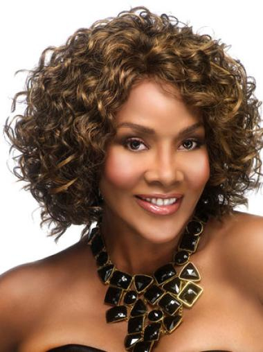 Capless Synthetic Affordable Medium Curly Wigs
