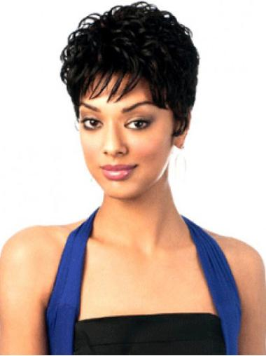 Black Capless Wavy Short Synthetic Wigs
