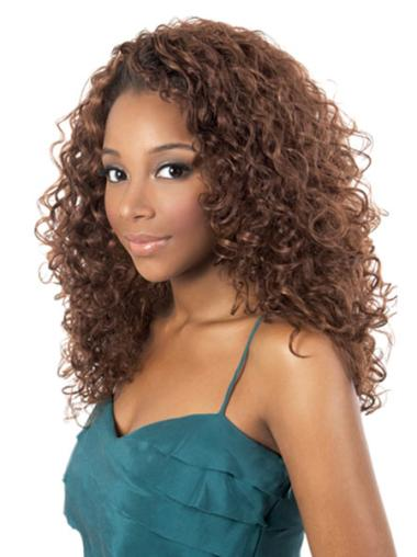 Brown Capless Curly Long Synthetic Wigs