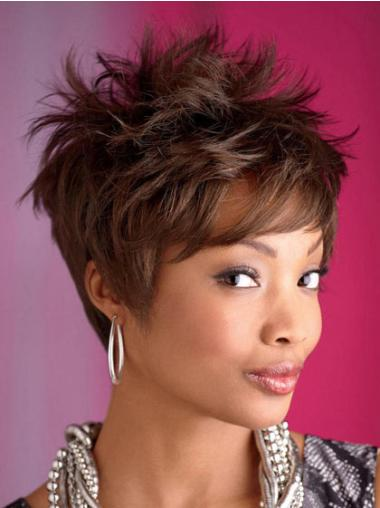 Brown Capless Straight Short Synthetic Wigs